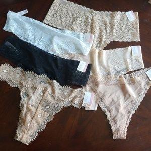 Set of 6 sexy lacey thongs + 1 free thong (set A)